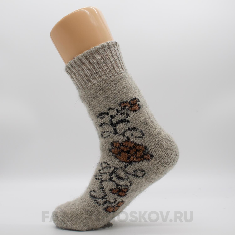 Женские шерстяные носки с розами