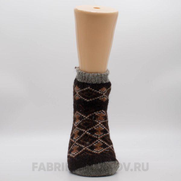 Короткие шерстяные мужские носки в ромбик