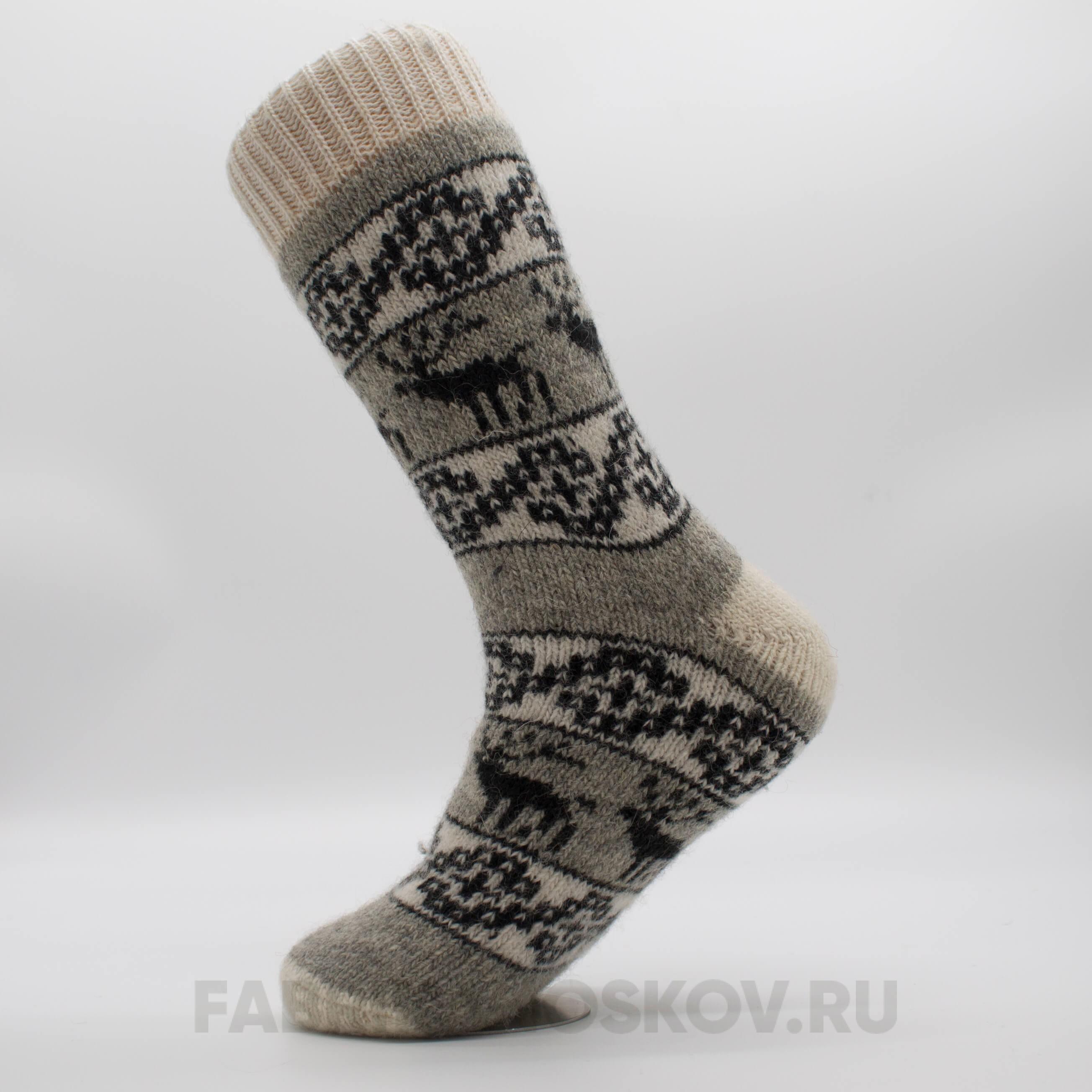 Мужские длинные шерстяные носки с оленями и орнаментом