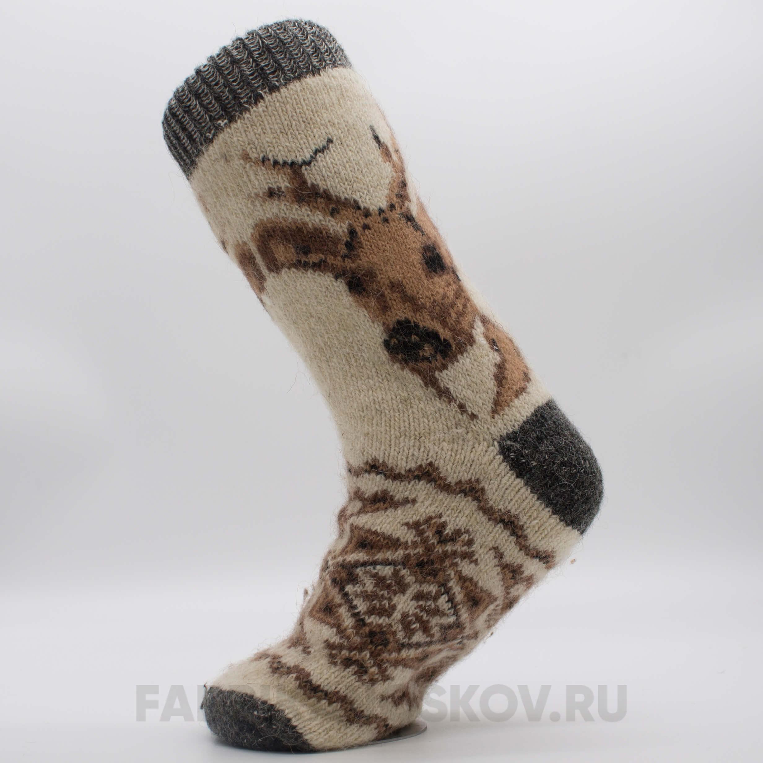 Мужские длинные шерстяные носки с оленем