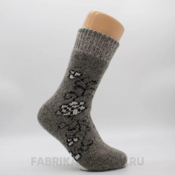 Женские длинные шерстяные носки с цветком