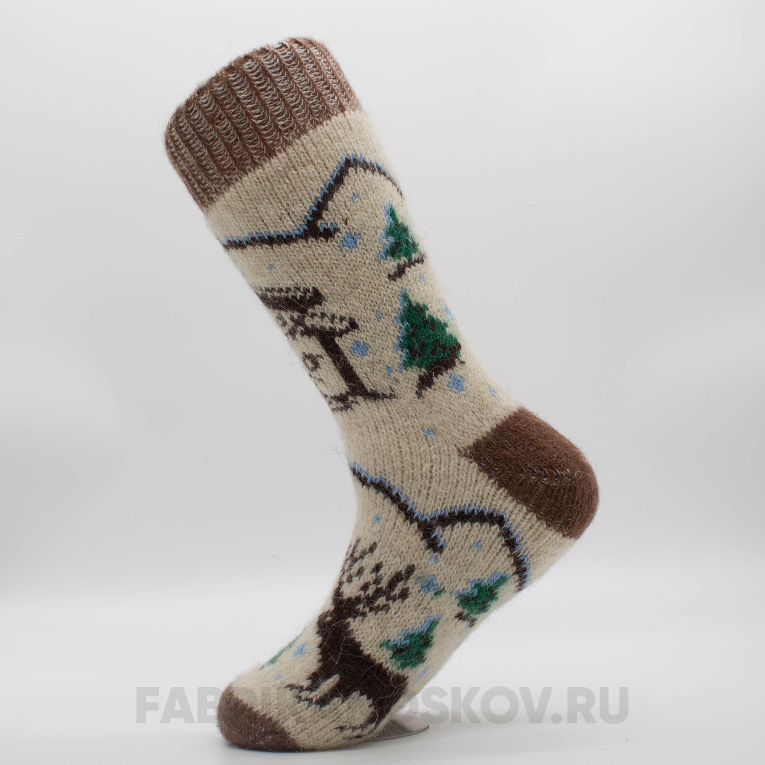 Мужские шерстяные носки с домом и лесом