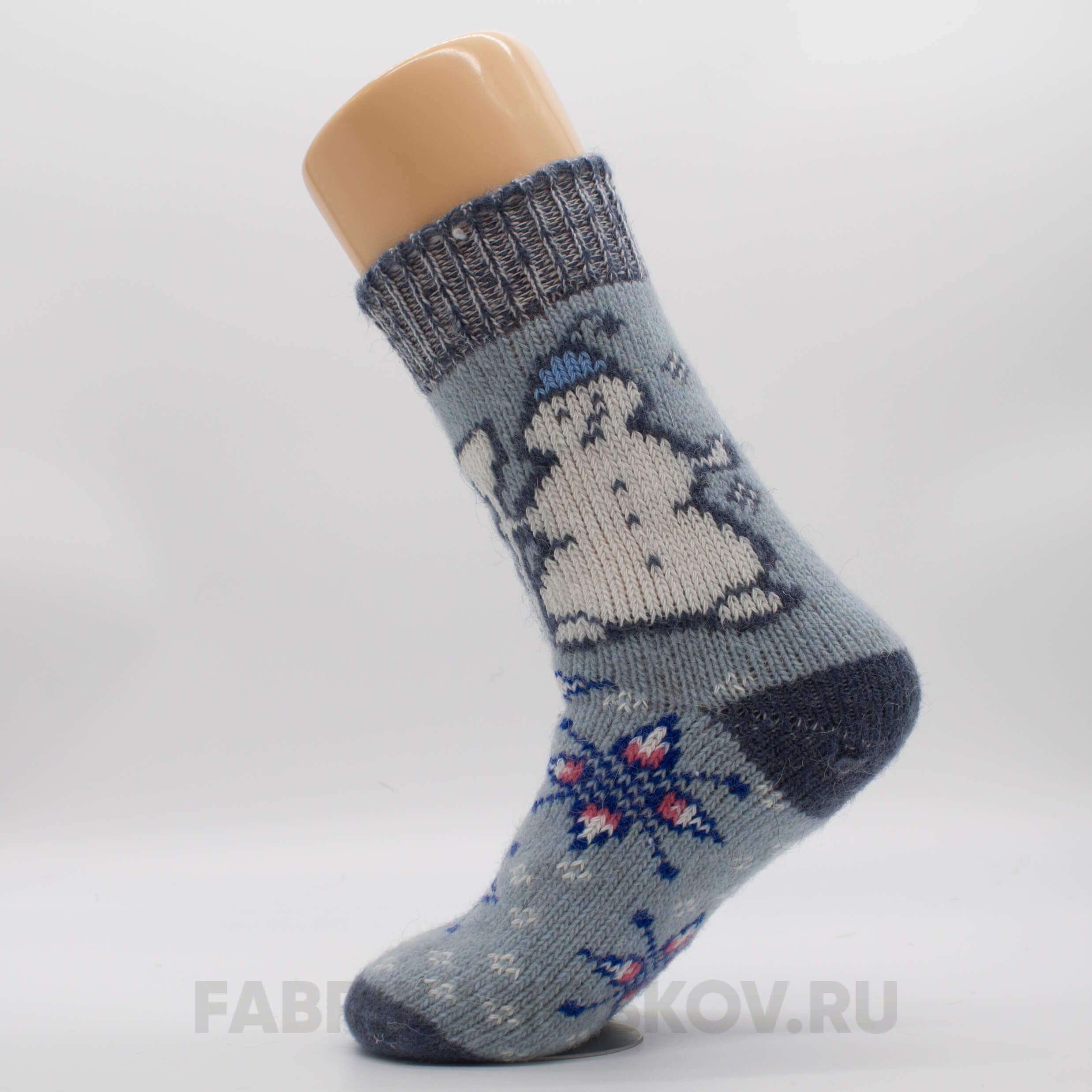 Женские шерстяные носки со снеговиком