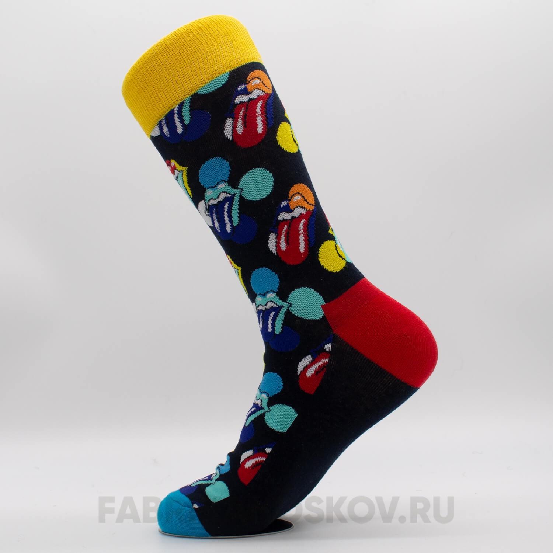 Длинные мужские носки с губами и кругами