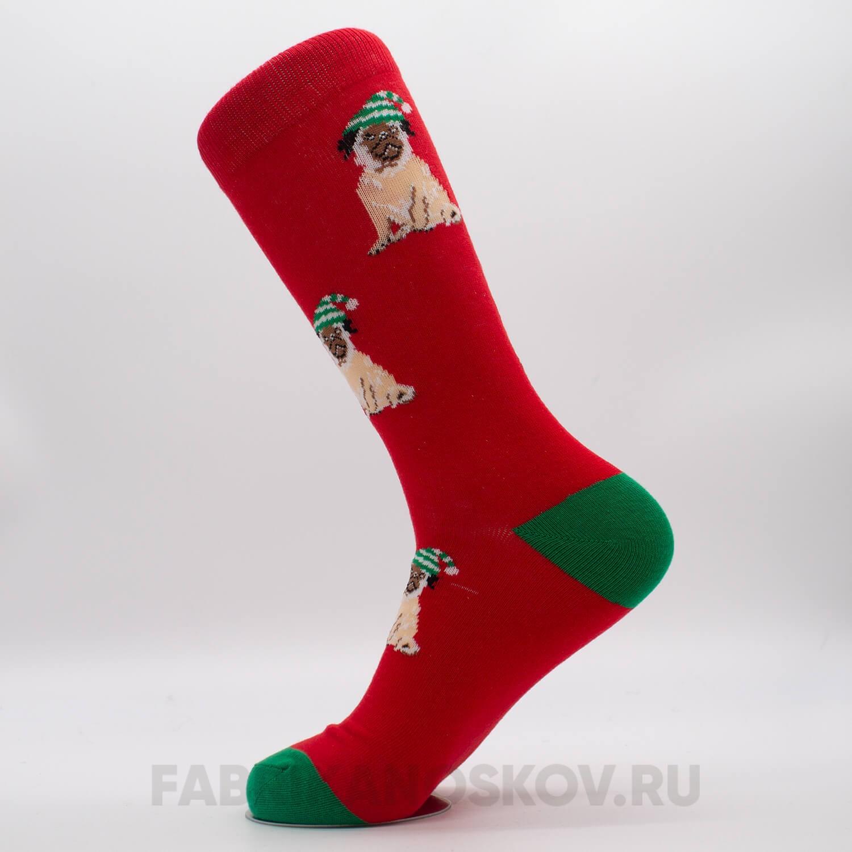 Женские новогодние носки с мопсом