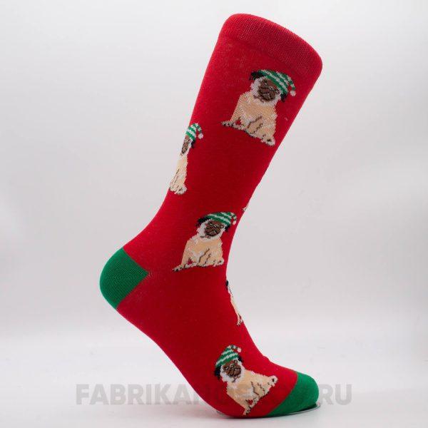 Мужские новогодние носки с мопсом