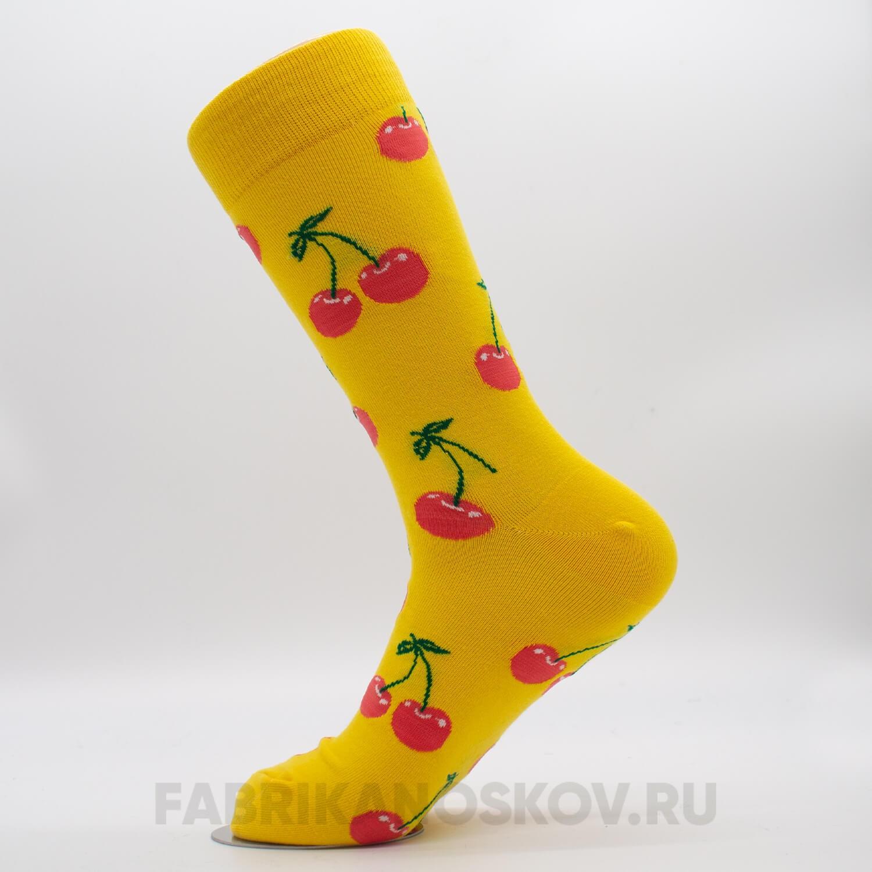 Женские носки с изображением вишни