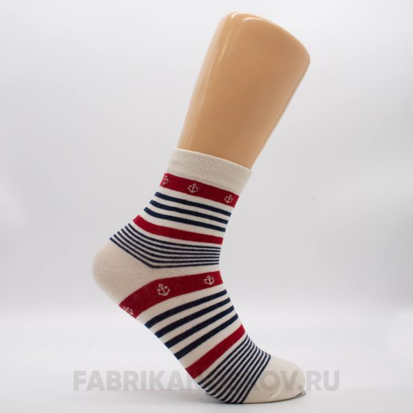 Мужские носки в полоску с якорями