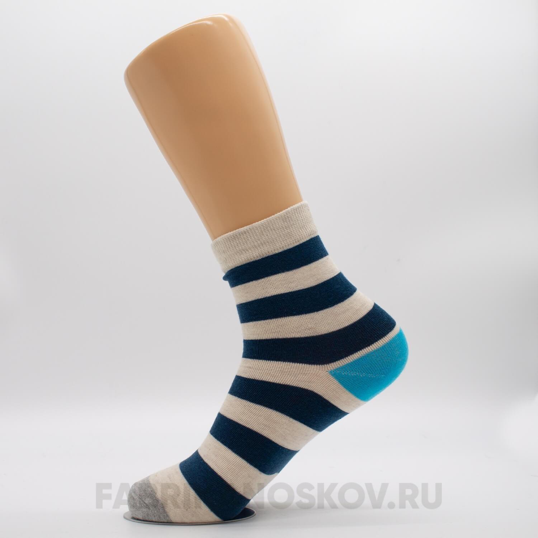Мужские носки с полосками и цветными пяткой и мыском