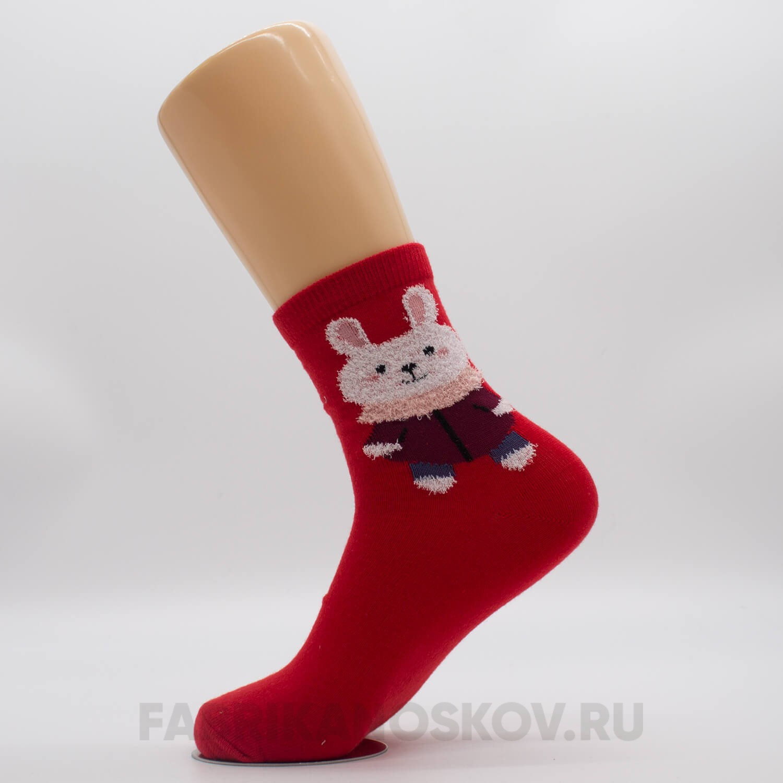 Женские новогодние носки с зайкой