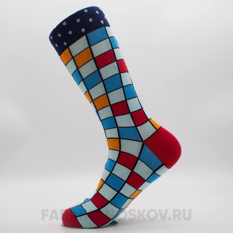 Высокие мужские носки с квадратами