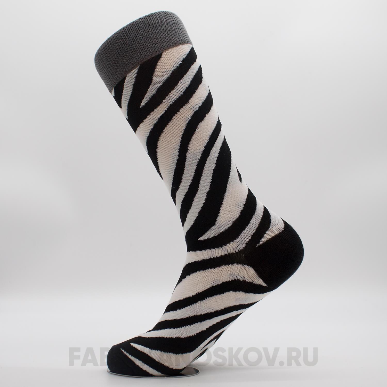 Мужские носки с патерном зебра
