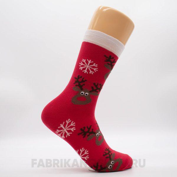 Мужские носки со снежинками и оленем