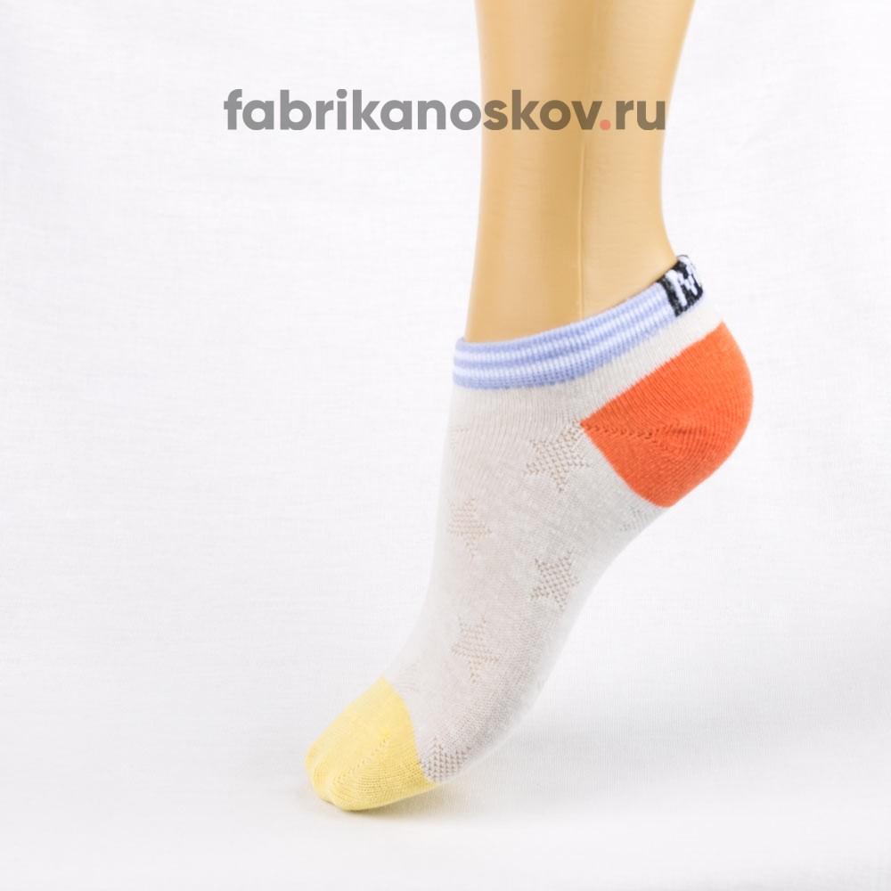 Короткие носки для малышей с цветными мыском и пяткой
