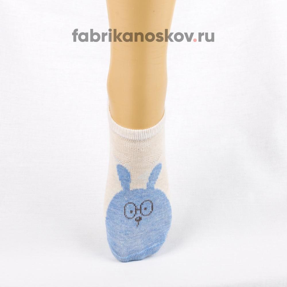 Короткие носки для малышей с изображением зайца в очках