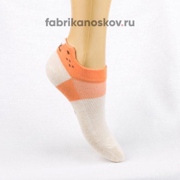 Короткие детские носки с изображением кошки на задней части