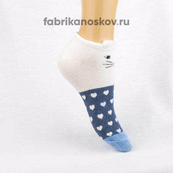 Короткие детские носки с мордочкой кота